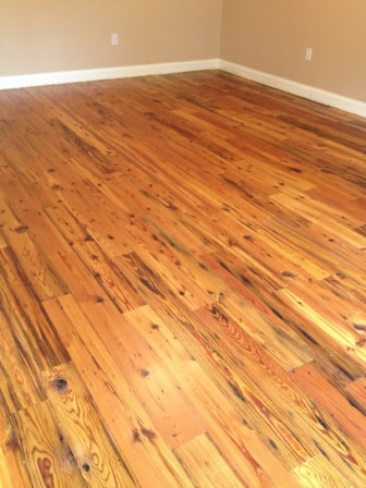 knotty old pine floorboards