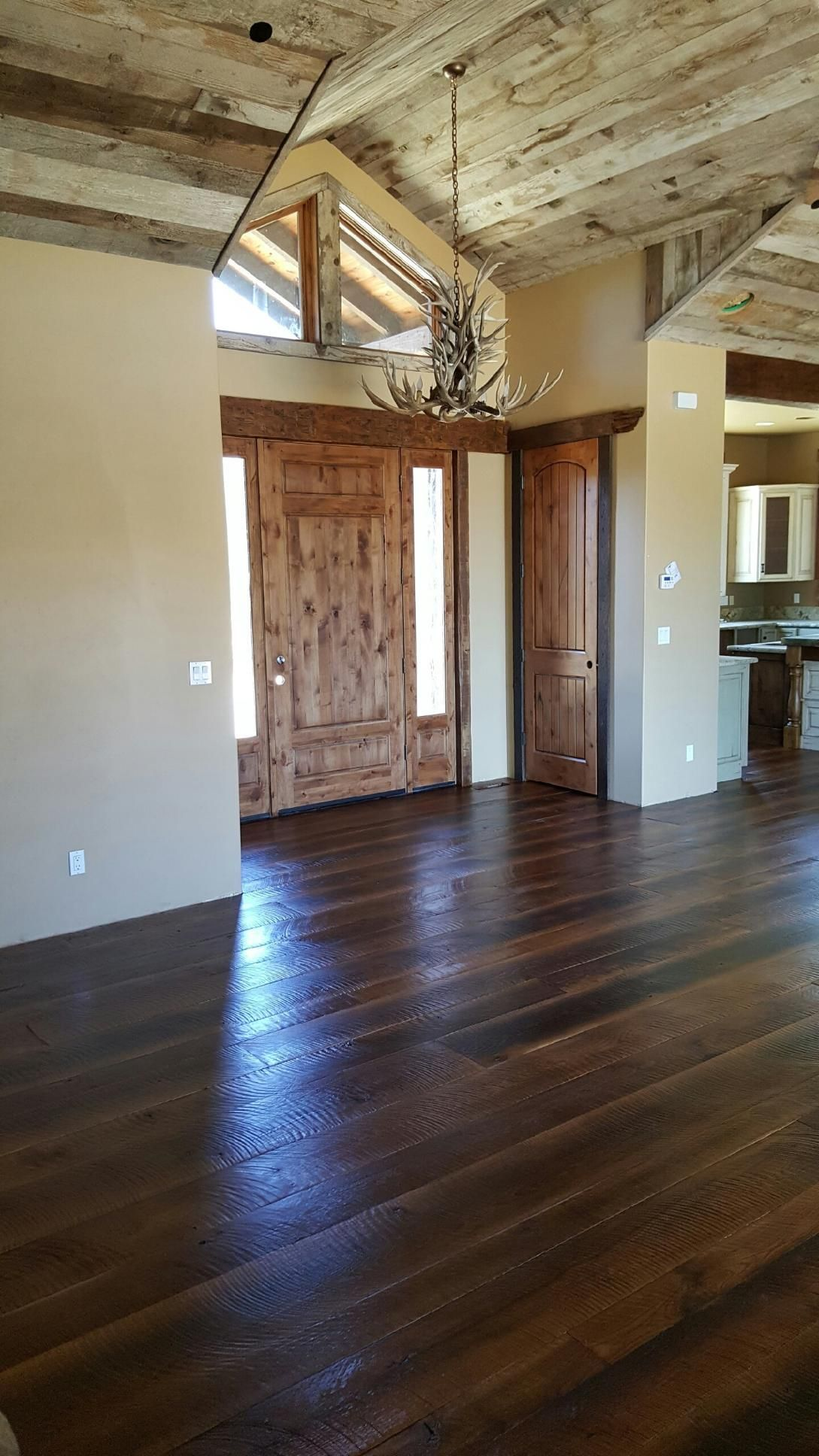 Reclaimed White Oak Circle Sawn Face Wide Plank Solid Hardwood Flooring Clear Oil Finish