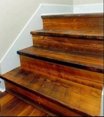 Reclaimed Heart Pine Circle Saw Face Stair Treads